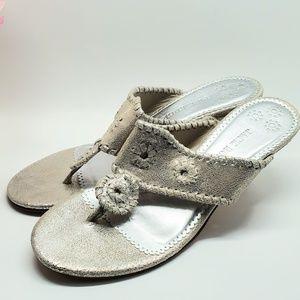 Jack Rogers Marina Silver Kitten Heel Sandals 10